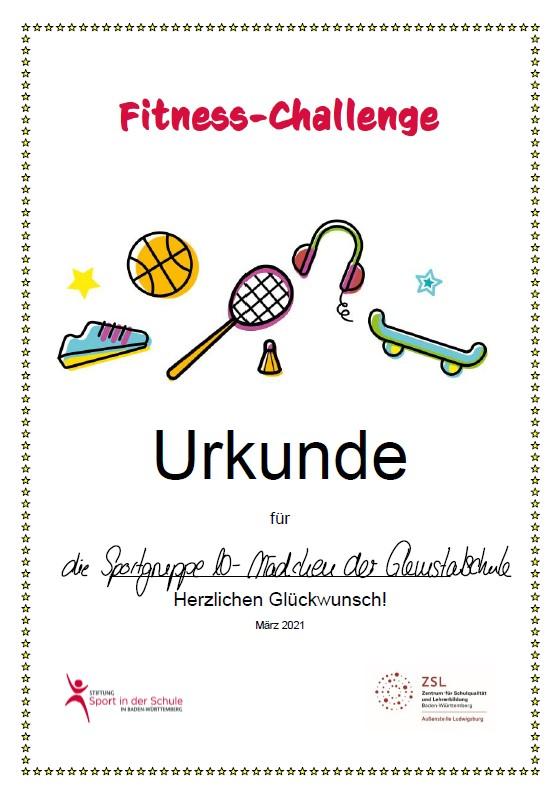Die Urkunde zur Fitness-Challenge.