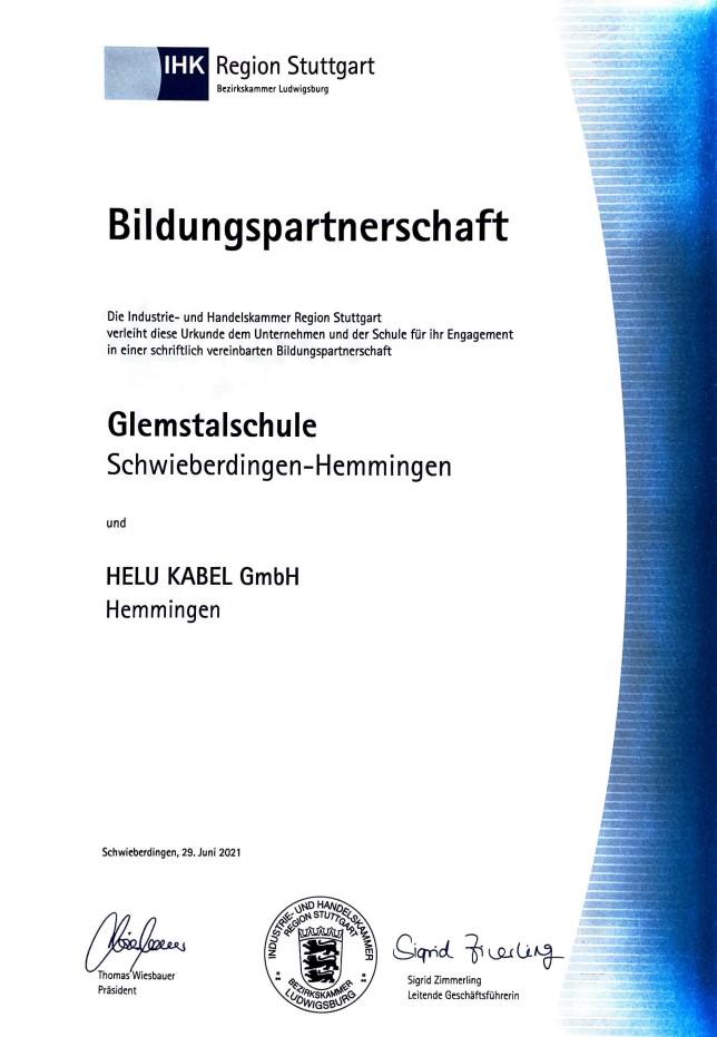 Zertifikat über die Bildungspartnerschaft zwischen Helukabel in Hemmingen und der Glemstalschule.